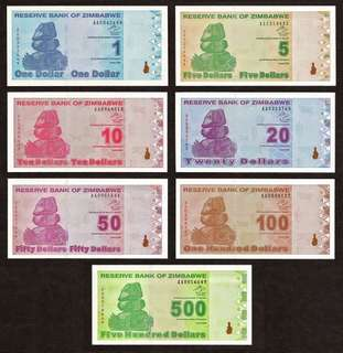 🚚 2009 ZIMBABWE POST-TRILLION SET 1, 5, 10, 20, 50, 100, 500 Dollars UNC