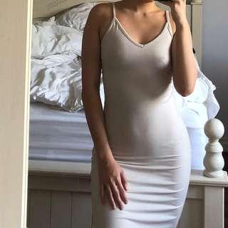 nude bodycon dress wih slit