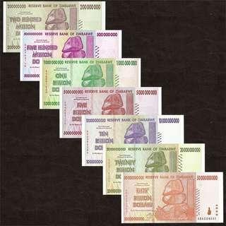 🚚 SET 7 PCS 2008 ZIMBABWE SET 200 + 500 Million, 1 + 5 + 10 + 20 + 50 Billion Dollars UNC