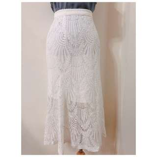 ❀☪︎ 優雅氣質款  白色葉子蕾絲魚尾裙