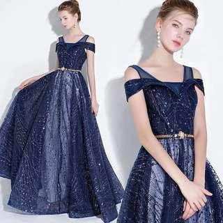 Galaxy Blue Glitter Dress (Rent) Evening Gown Dinner Dress Starry Night Galaxy Sequin