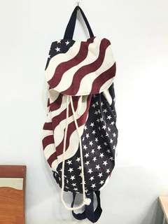 🚚 美國帶回🇺🇸國旗帆布後背包 大容量 #畢業兩百元出清