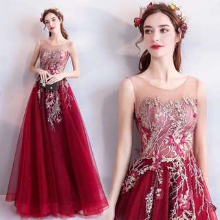 Burgundy  Silver Gold Floral Embroidery Evening Gown/ Long Dinner Dress/ Prom Dress/ Bridal Bridesmaids Dress (Rent)