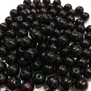 🆕 Black red glitter beads