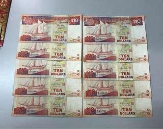 Old Notes Ship Series $10 / 10pcs
