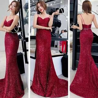 Red Shimmer Velvet Dinner Dress (Rent)