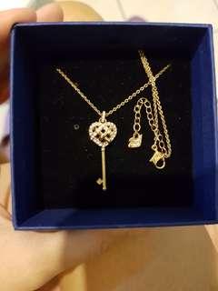 Swarovski Rosegold Crystal Key Heart necklace