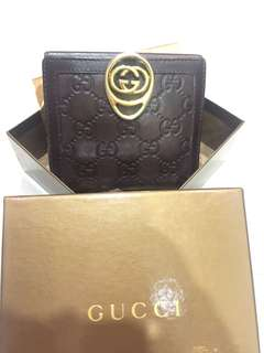 Gucci Signature Leather Fold-over Snap Stud Wallet