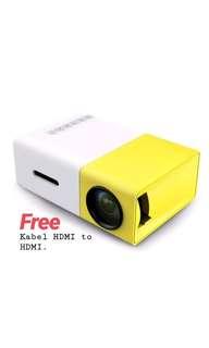 Proyektor Mini LED YG300 Mini Theater - FREE KABEL HDMI TO HDMI