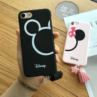 🌼BRANDNEW🌼 Iphone 7 Iphone 8 Mickey Mouse Black Matte Hard Case with Tassel