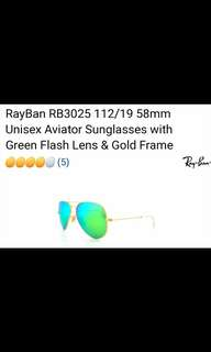 Rayban Aviator Sunglasses Polorized w/ Green Flash lens & Gold frame