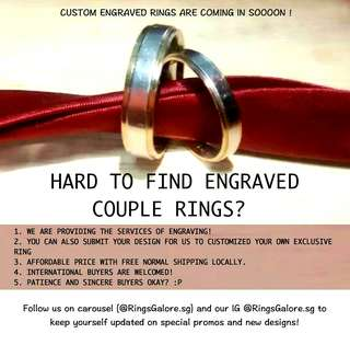 UPCOMING CUSTOM ENGRAVE RINGS COUPLE RING