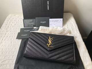 [New] Authentic Large Saint Laurent YSL Wallet On Chain WOC GHW ^Reserved*