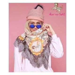 Kiss me doll 獨角獸 夢幻 童趣 流蘇絲巾 設計師品牌