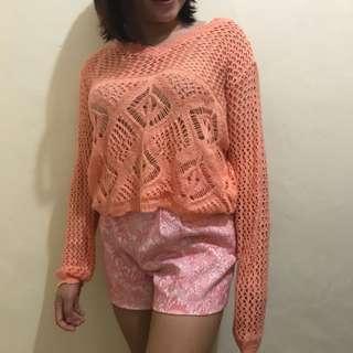 Crochet sweater in pink