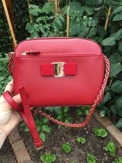 Ferragamo red leather bag
