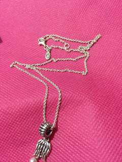 Pandora Silver Anchor Chain necklace with Angel Wings Pendant Charm