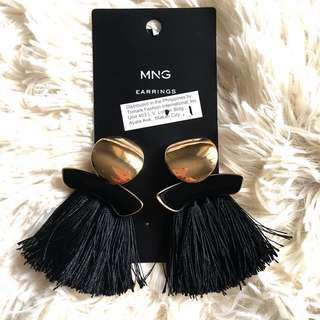 Mango Statement Black Tussle Earrings
