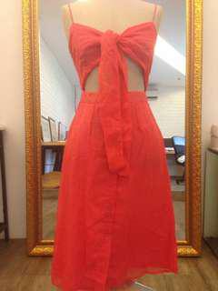 Wearstatuquo beach Dress tied ribbon salmon baju