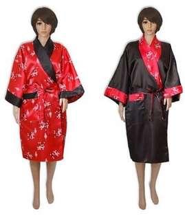Reversible satin Thai Kimono - bathrobe, dressing gown