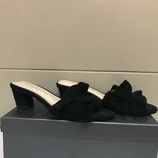 Staccato black suede heels