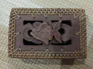 Handmade Straw Rattan and Wooden Box