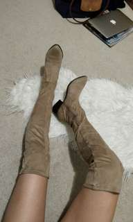 Suede Brown Thigh High Boots