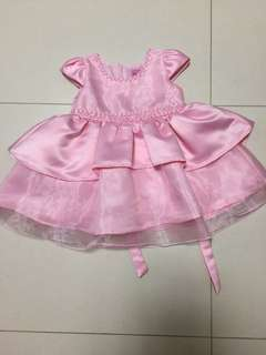 Baby Girl Dress pink satin dress with pearls