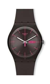 Swatch 螢光粉紅針手錶