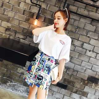 Archie Comic Skirt with  White Oversized Tee