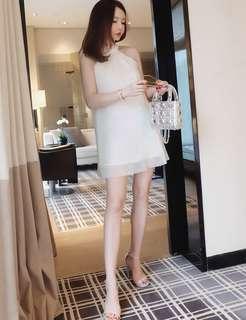 🚚 氣質蝴蝶結閃閃珠片仙女連衣裙