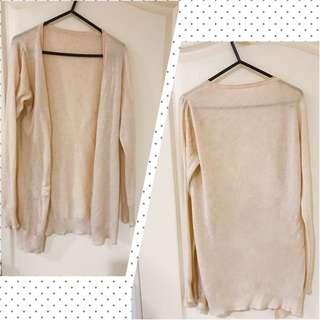 🚚 降價🍡氣質遮陽🍭米色長版針織外套#女裝半價拉