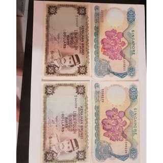 2x $50 Orchid serie and 2x $50 Brunei notes