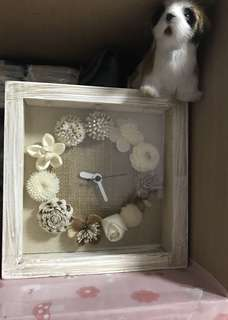 Handmade white color wooden clock with 3 lights