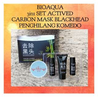BIOAQUA 3IN1 SET ACTIVED CARBON MASK BLACKHEAD ORIGINAL TERMURAH