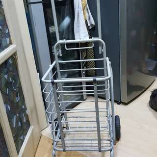 Foldable collapsible portable trolley push cart basket