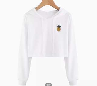 White cropped top hoodie
