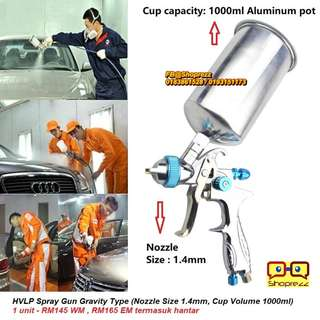 HVLP Spray Gun Gravity Type  (Nozzle Size 1.4mm, Cup Volume 1000ml)