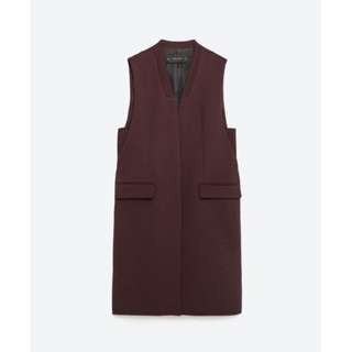 ZARA - Burgundy Open Front Vest Waistcoat (XS)