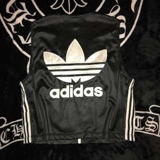 🚚 古著 日本製 老品 80s Adidas Originals 珍珠白 電繡大LOGO 緞面 亮面 三葉草 三線條 背心
