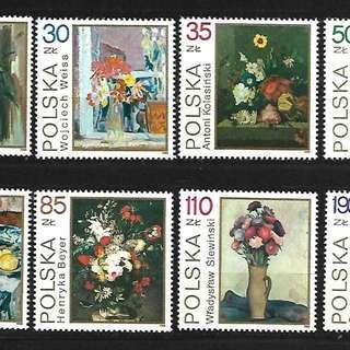 波蘭1989靜物花卉繪畫8全新