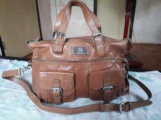 BIAOMA Genuine Leather Messenger Brown Bag