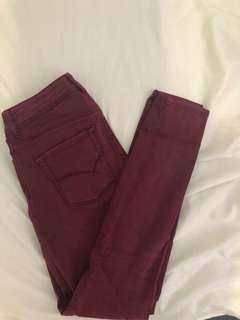 PACSUN Maroon Highwaist pants (Size: 0)
