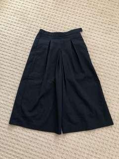 Zara xs high waisted navy wide leg culottes