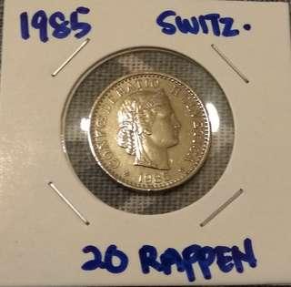 1985 Switzerland 20 Rappen