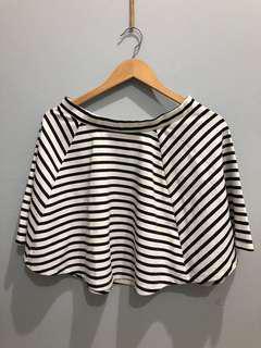 Flare skirt stripes black and white
