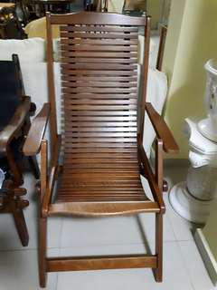 Lounge Foldable Recliner Deck Chair Wooden Reclining Chair