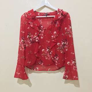 H&M Red Floral Top