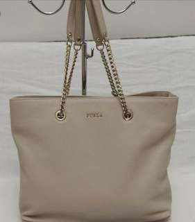 Furla Julia Chain Shoulder Bag in Beige