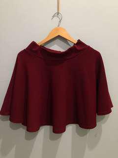 Flare skirt, maroon
